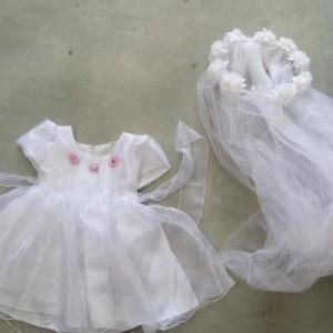 תחפושת כלה לתינוקות וכיסוי לשיער 1